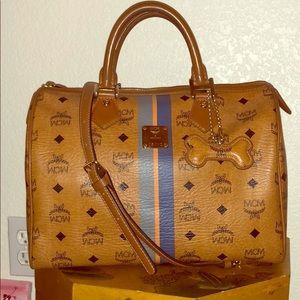 Auth Cognac Visetos MCM Boston Bag + Strap + Charm